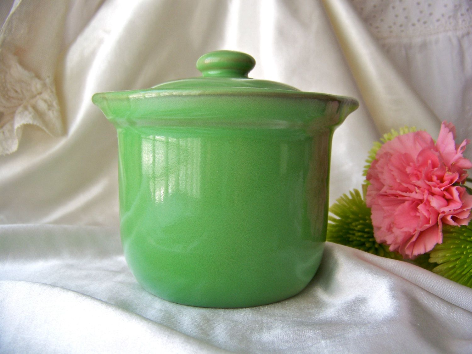 antique crock china green with lid hall pottery by cynthiasattic antique crock china green with lid hall pottery jar lidded crock stands 4 inches tall by 4 inches wide lovely green crock in in very good condition