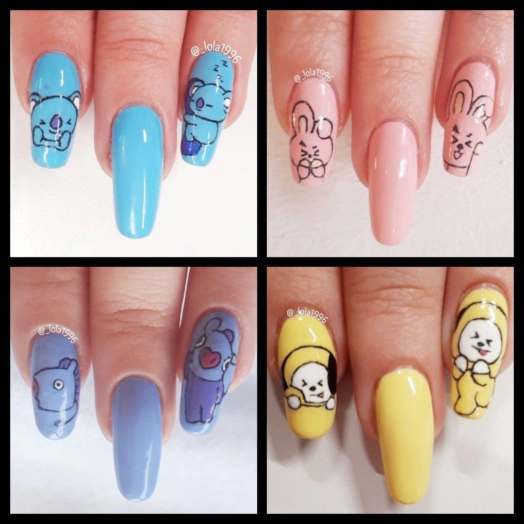 Bts nail art BT21 #easynailartdesigns #koreannailart