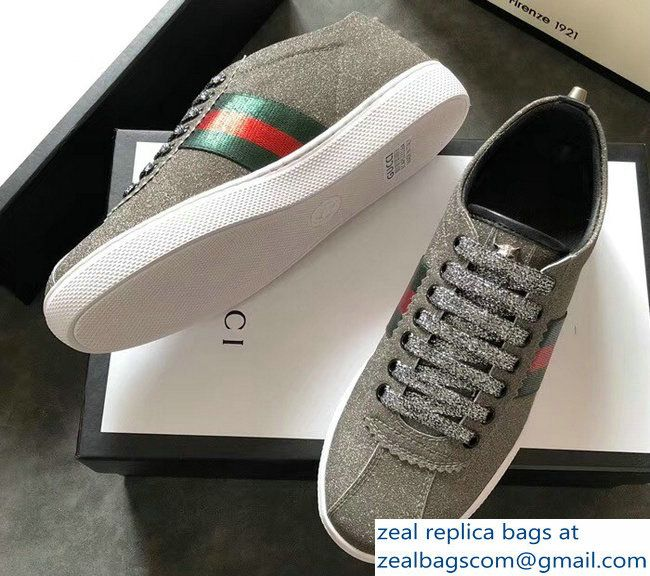 b30074071b7 Gucci Web Ace Glitter Leather Low-Top Women  s Sneakers 419544 Studs Gray