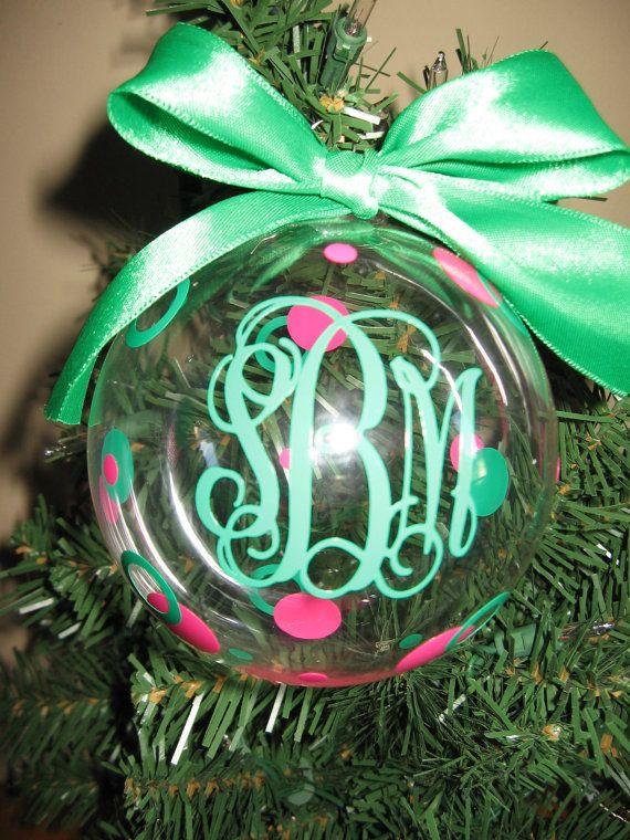 Personalized Monogram Christmas Ornament by VinyleYours on Etsy, $10.00 - Personalized Monogram Christmas Ornament Monogram Pinterest