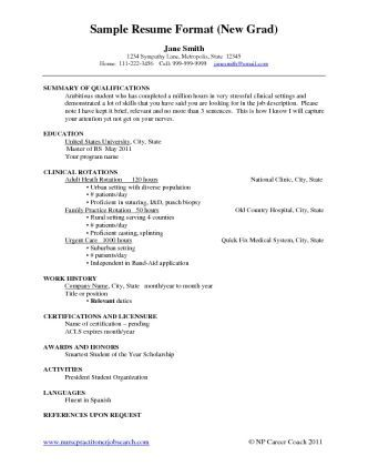 New Grad Nursing Resume Sample