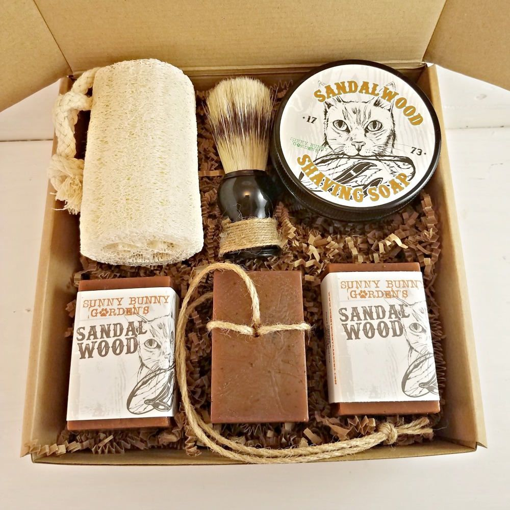 Sandalwood Shaving Soap, Mens Shave Soap Gift Box, Gifts