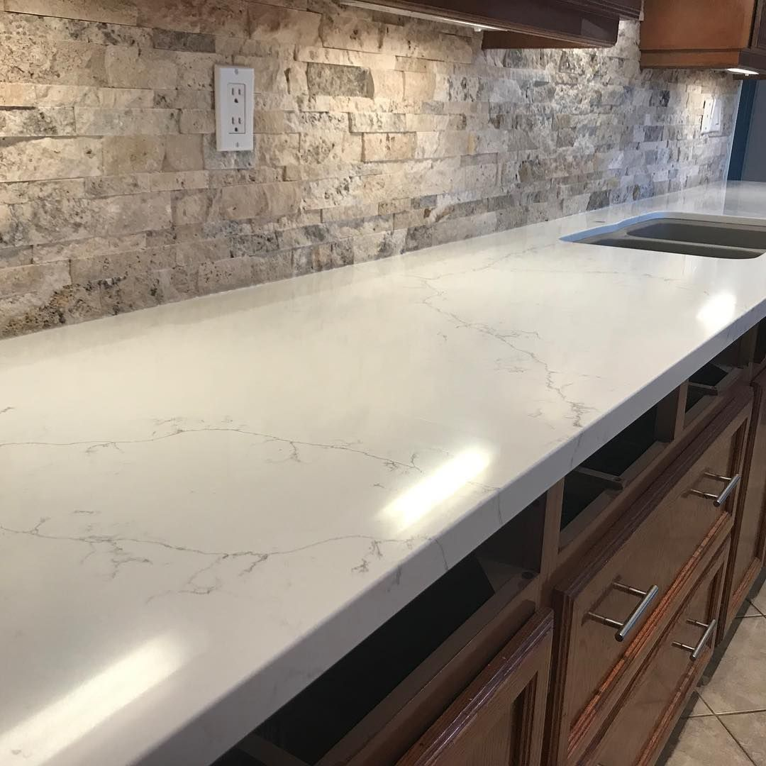 This Natural Looking Quartz Countertop Is Perfect For This Kitchen