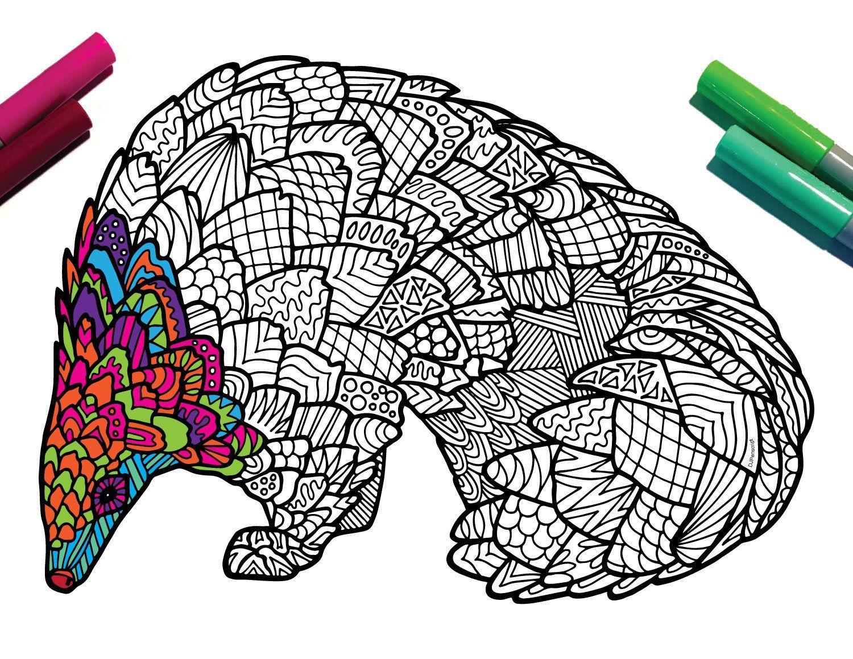 Pangolin Endangered Animal PDF Zentangle Coloring Page