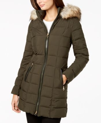Laundry By Shelli Segal Mixed Media Hooded Puffer Coat Reviews