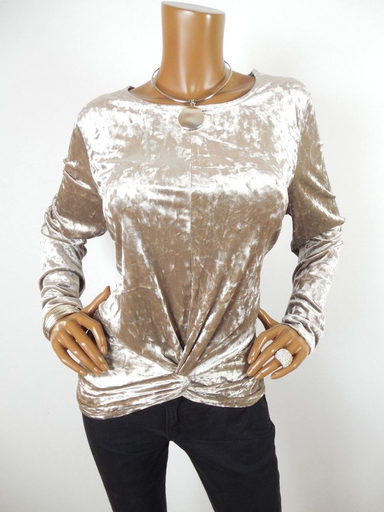 d5cdfb379f4c5 PLEIONE Womens Top L HOLIDAY Shirt Crushed Velvet Stretch Twist Hem Long  Sleeve  Pleione