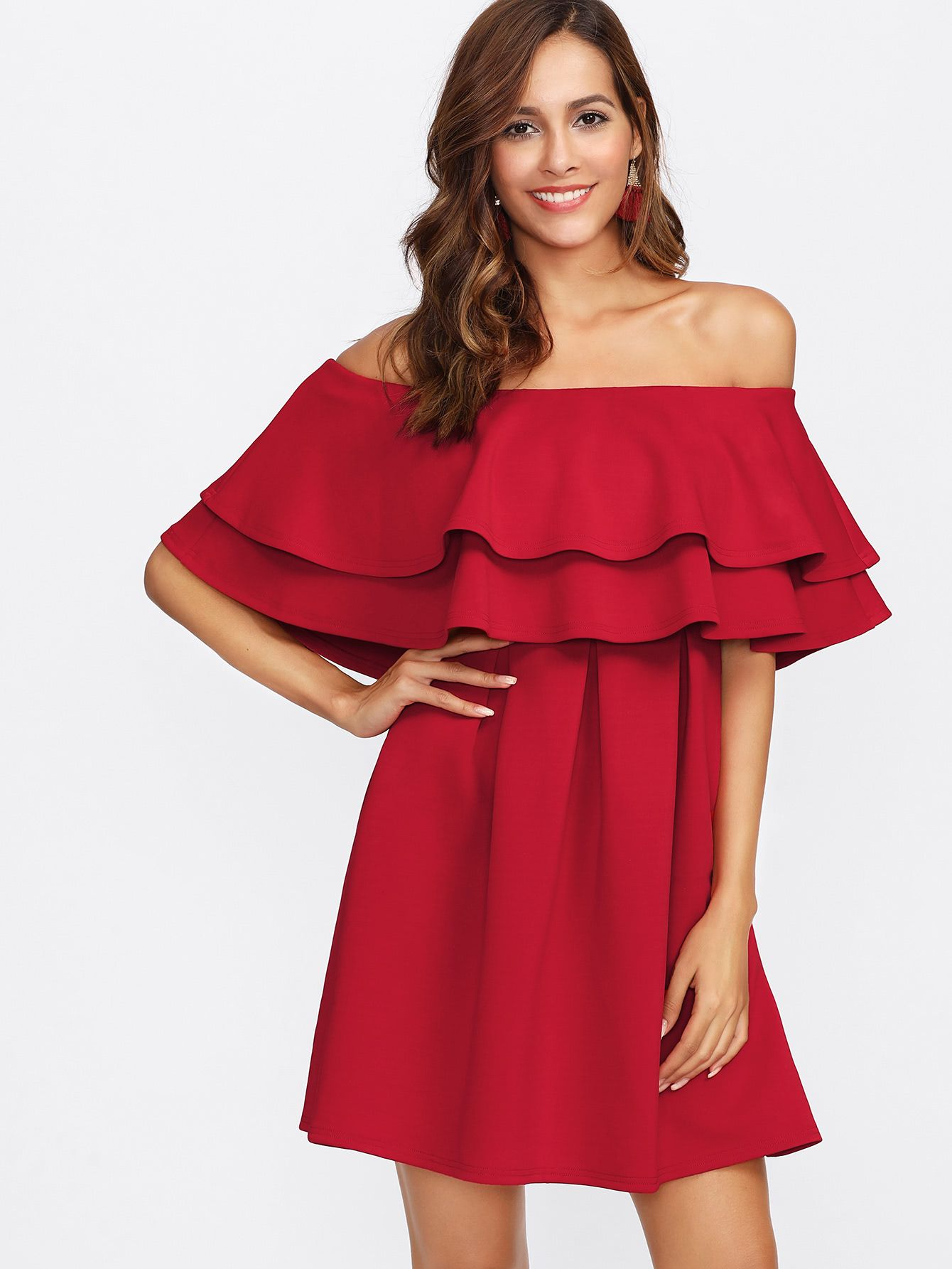 f5e97be04c Shop Layered Flounce Off Shoulder Dress online. SheIn offers Layered  Flounce Off Shoulder Dress & more to fit your fashionable needs.