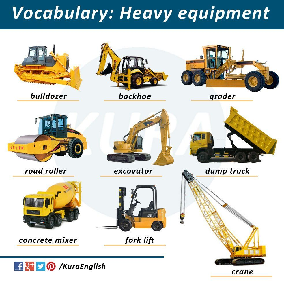 Heavy equipment pinteres for Construction vocabulary