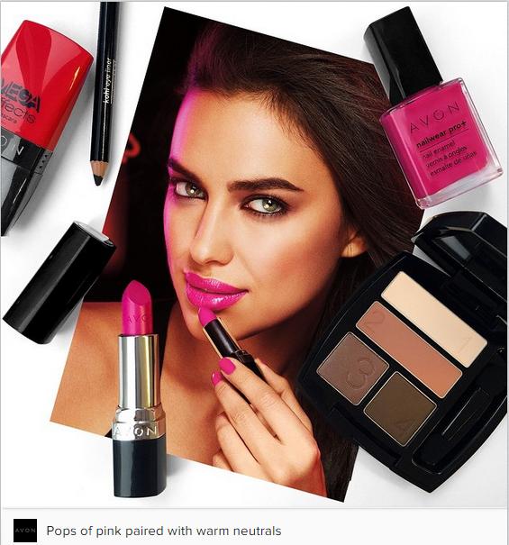 pink and neutral Avon lipstick, Avon eyeshadow, Avon care