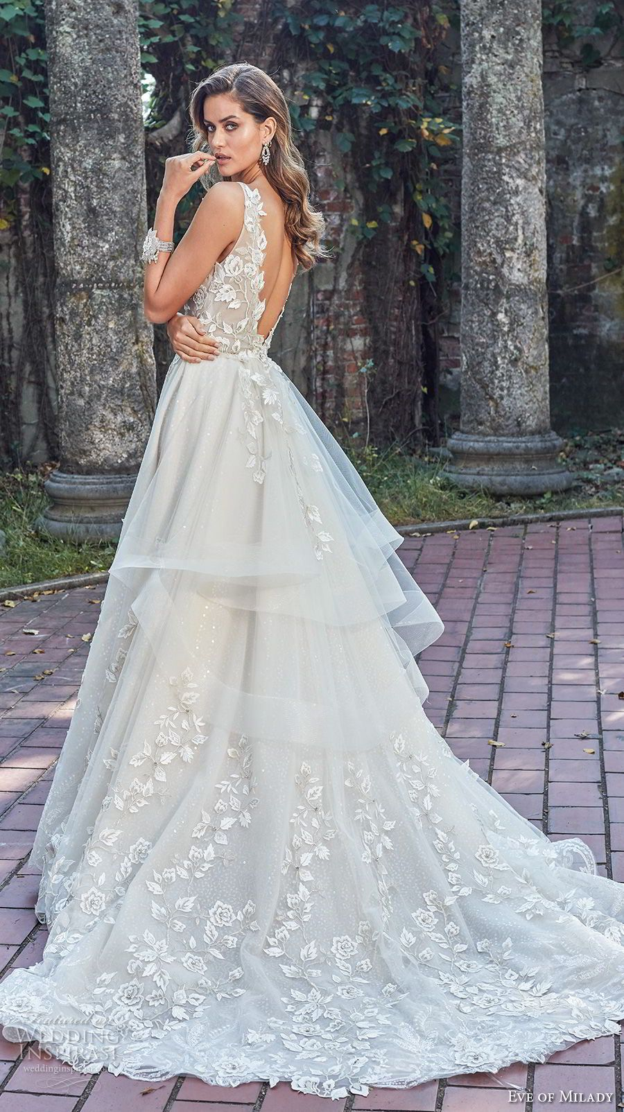 dcadcde49f3 eve of milady spring 2018 bridal sleeveless deep v neck full embellishment  romantic princess a line wedding dress open back chapel train (2) bv -- Eve  of ...