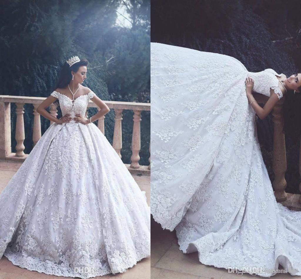 Gorgeous Sheer Ball Gown Wedding Dresses 2017 Puffy Beaded: 2017 Ball Gown Wedding Dresses Off Shoulder Full Lace