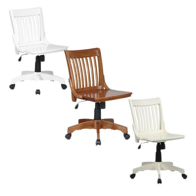 Office Star Deluxe Wooden Bankers Chair In Antique White As Is