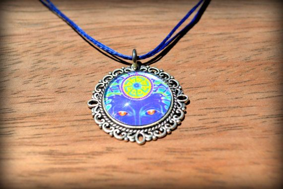 Blue Psychedelic Glass Pendant Jewelry Silver by BeeMadeDesign