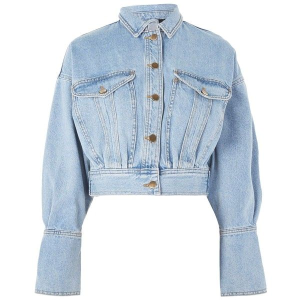 Cropped Denim Jacket By Boutique 110 Liked On Polyvore Featuring Outerwear Jackets Topshop Long Slee Denim Jacket Diy Denim Jacket Cropped Denim Jacket