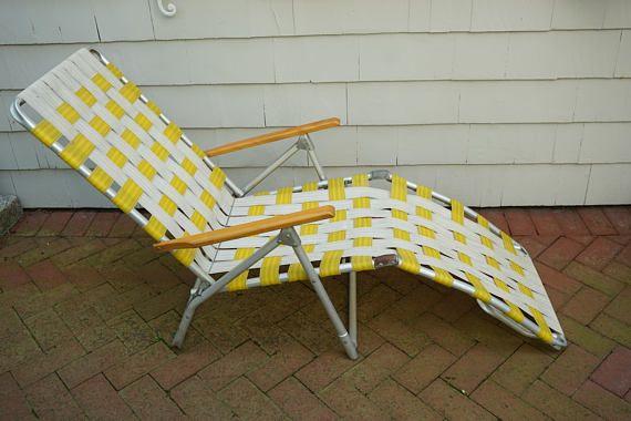 lawn chair yellow white pool deck beach chair folding aluminum