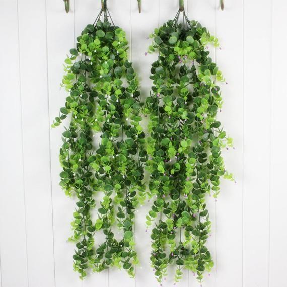 Hanging Plants Indoor Leaf Garland Fake Plants for Hanging Basket Plastic Plants Outdoor Home Garden Fake Vines Christmas Decor CXW5205basket