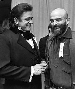 "Johnny Cash meets with Shel Silverstein, who both later won the Grammy award for  ""A Boy Named Sue."" Cash won for Best Country Male Vocal Performance and Silverstein won for Best Country Song, ----3-11-1970.."