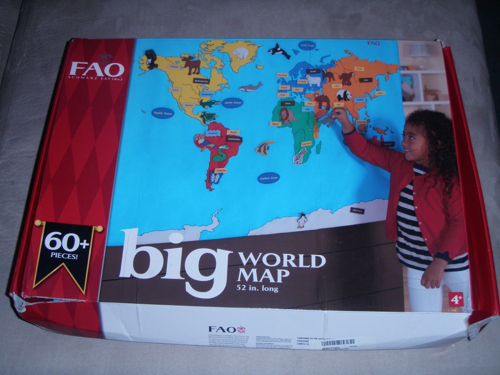 Geography and History 11733 Fao Schwarz Big World Map BUY IT NOW