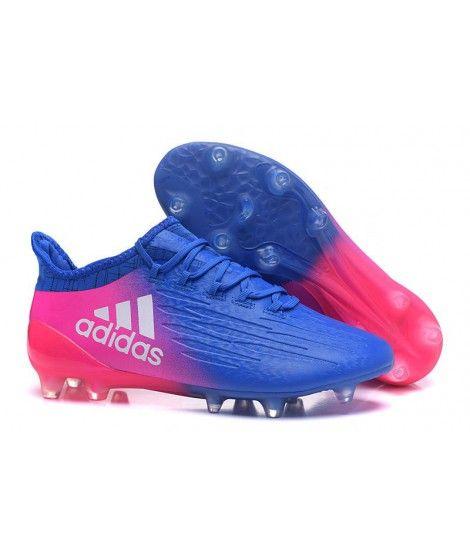Acheter 2016 Chaussures de football Adidas X AG/FG Bleu Rose Blanc pas cher  en ligne