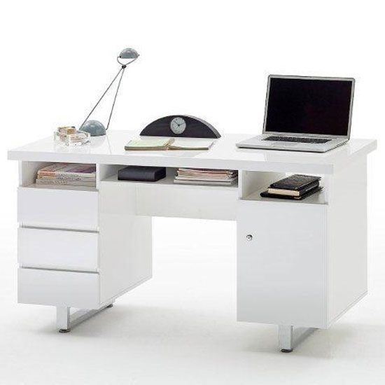 Sydney Computer Desk In High Gloss With 3 Drawers And 1