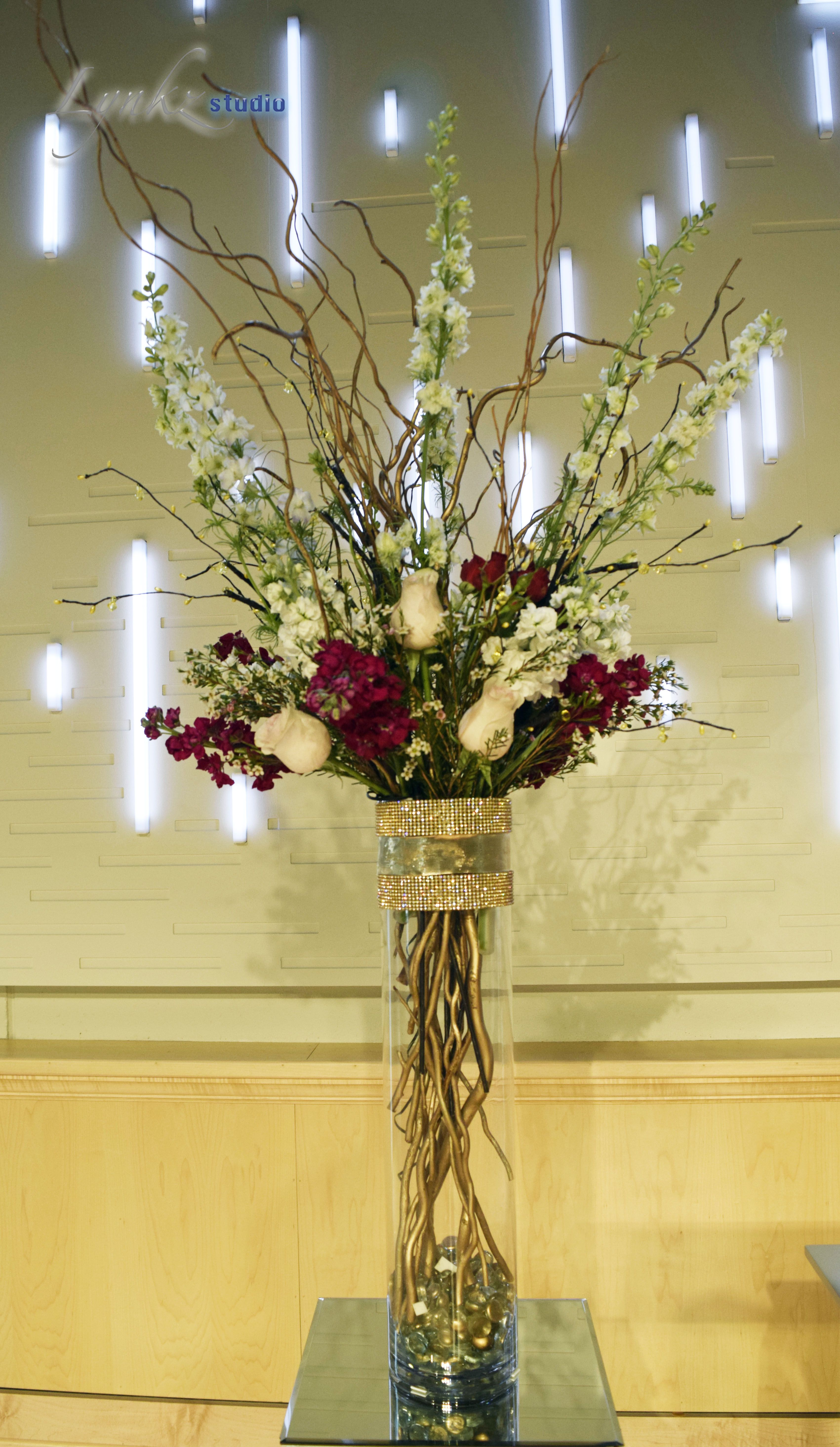 Ceremony Arrangement At Church From Burgundy And White Stock White