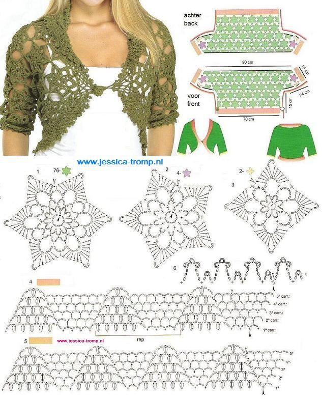 boleros tejidos a crochet bajar patrones gratis - Buscar con Google ...
