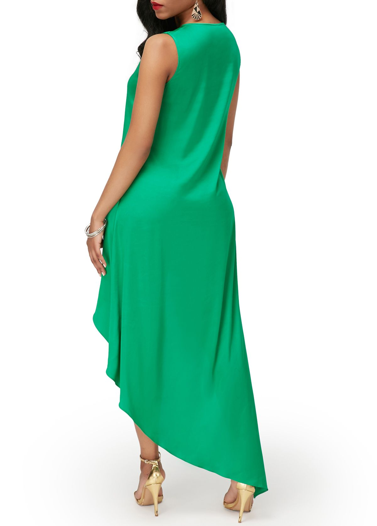 Asymmetric Hem V Neck Green Sleeveless Dress on sale only US$34.90 ...