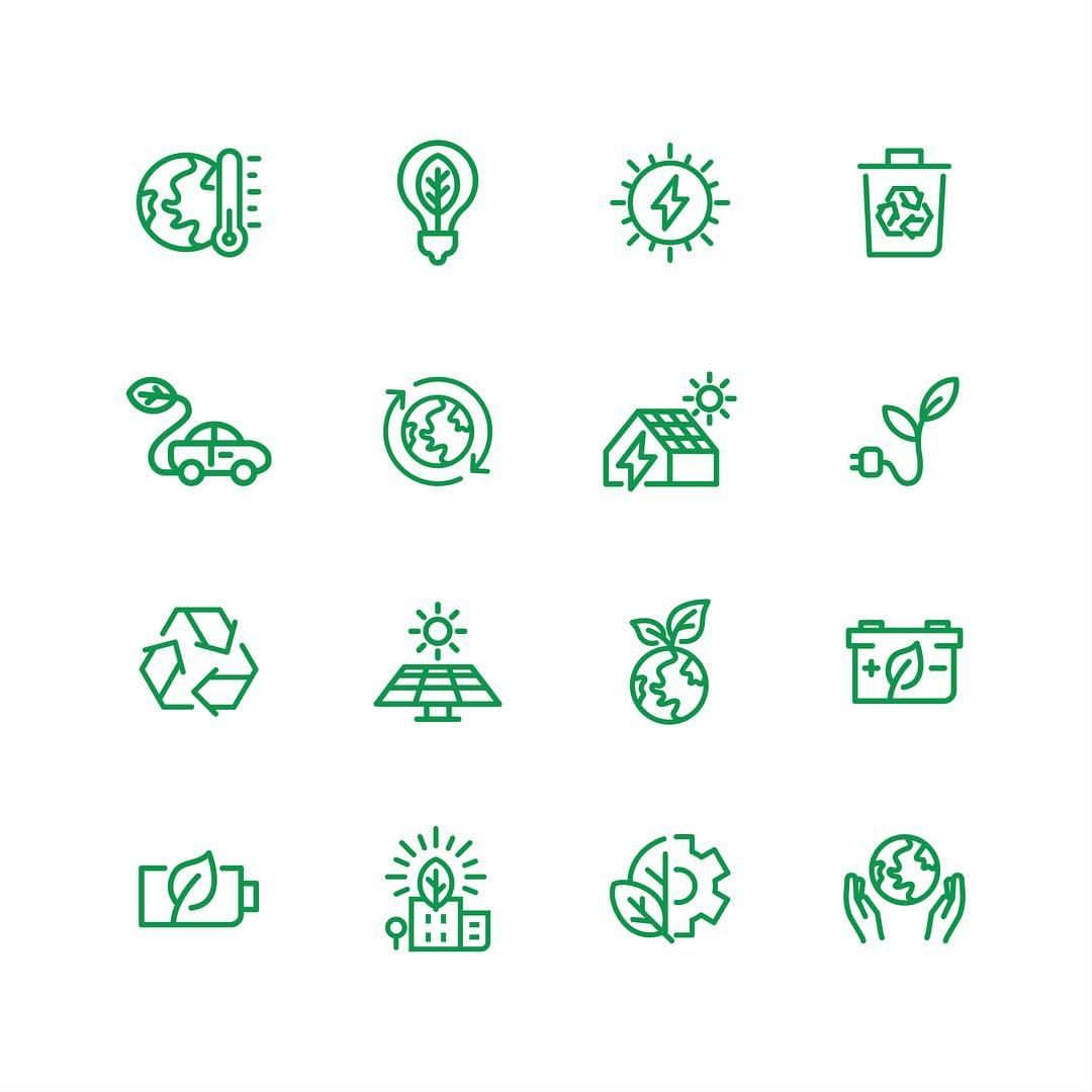 Green Energy Icon Collection By Bomsymbols Energy Logo Green Energy Solar Energy