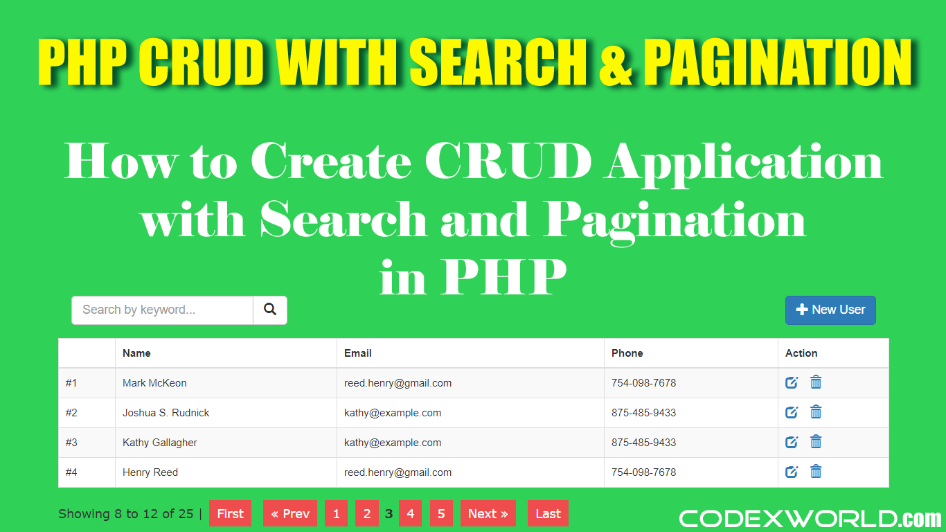 PHP CRUD Operations with Search and Pagination | PHP | Php tutorial, App