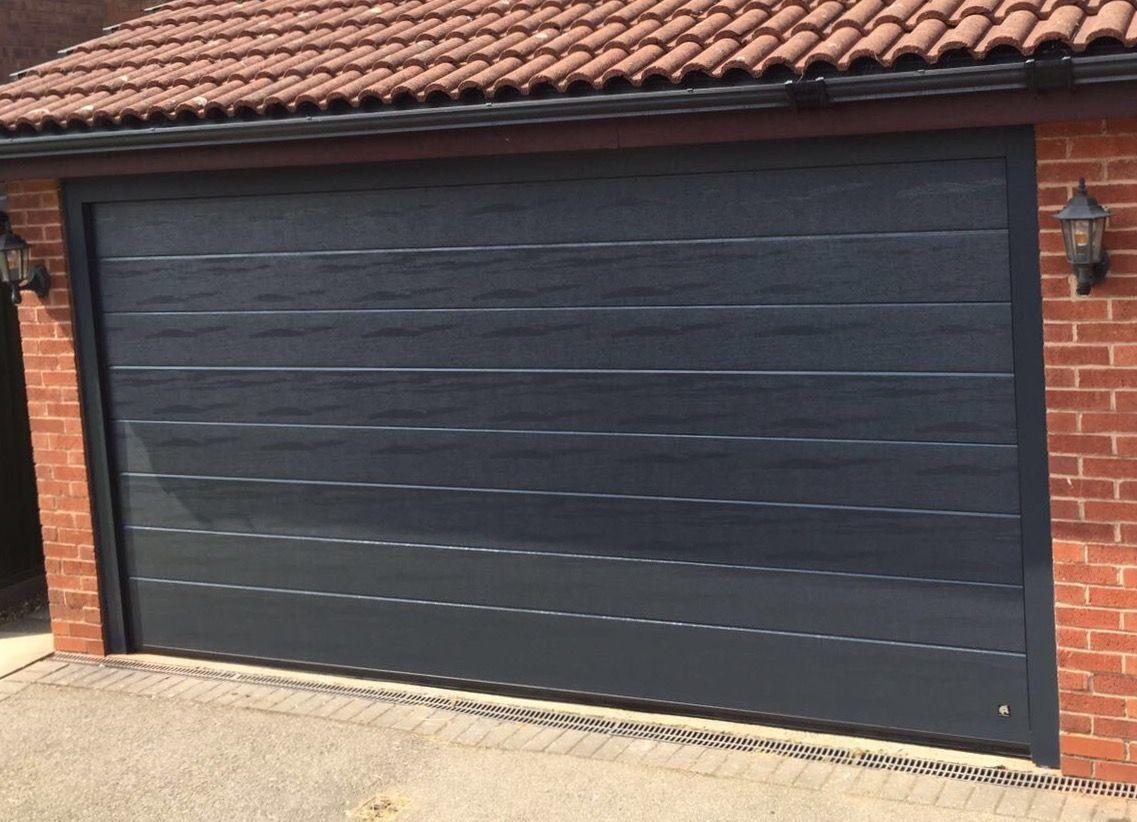 Ryterna Mid Rib Woodgrain Anthracite Grey Sectional Garage Doors Garage Door Insulation Garage Doors