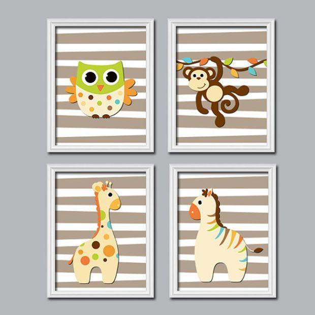 Boy Wall Art Nursery Canvas Artwork Child Jungle Animal Beige Brown Giraffe Owl Zebra Monkey Monogram
