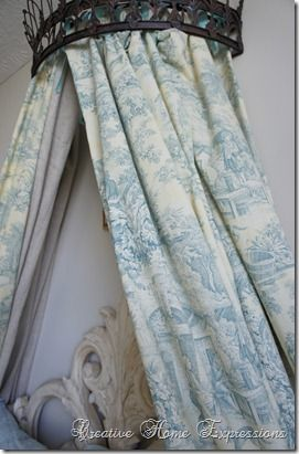 """Over the bed """"crown"""" of fabric...how to"""
