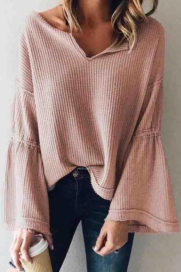 V Neck  Plain  Bell Sleeve Sweaters