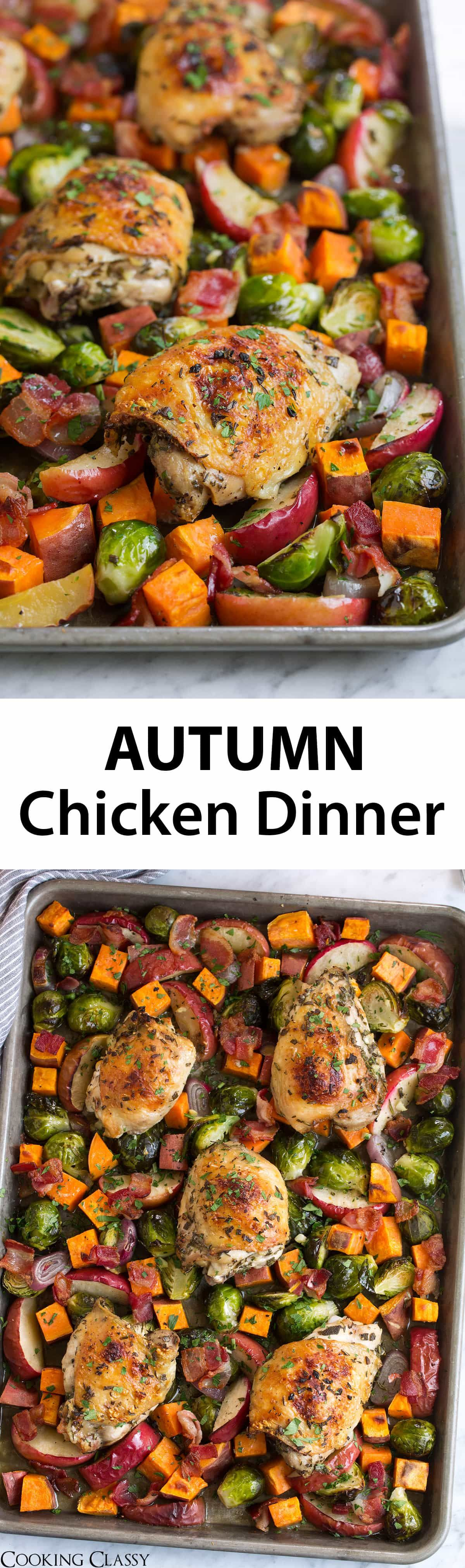 One Pan Autumn Chicken Dinner - one of my favorite fall recipes!! Comforting good for the soul food and great way to use up seasonal produce. #fallrecipe #chicken #recipe #dinner #cookingclassy #fallrecipesdinner