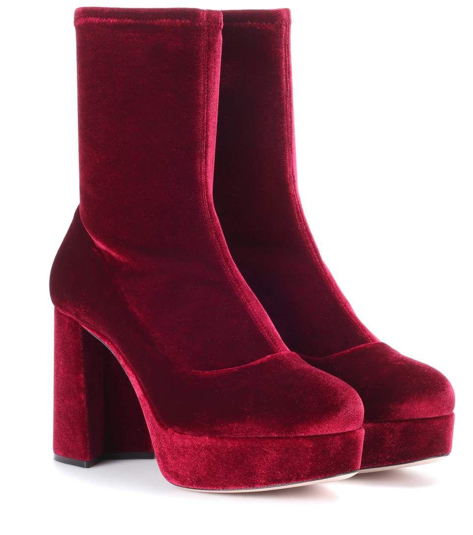89abd0dd194 Miu Miu Velvet plateau ankle boots