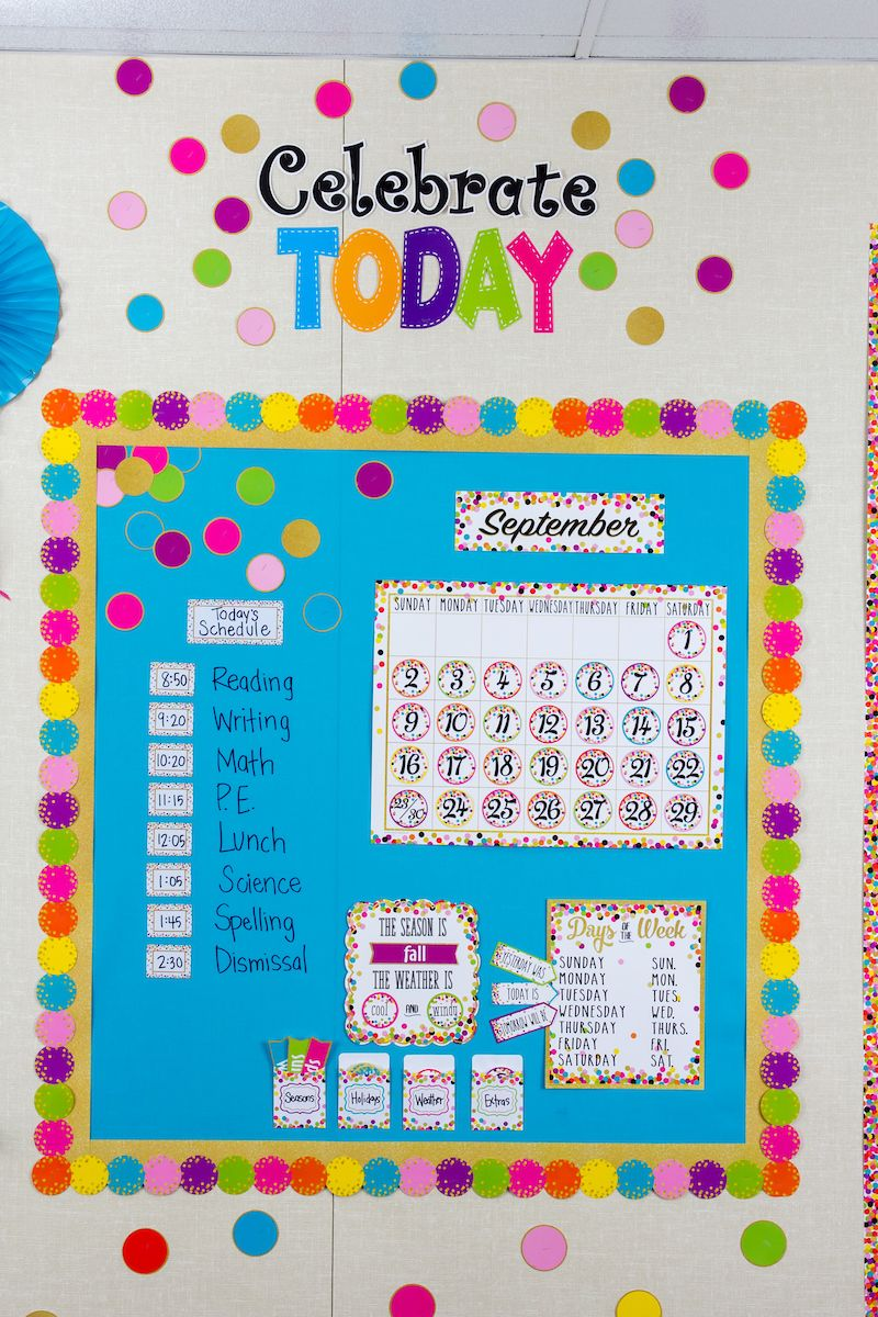 Confetti Calendar Bulletin Board Display | Handwriting | Pinterest ...
