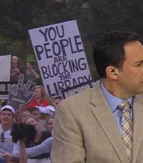 """""""You people are blocking the library"""" at ESPNs Game Day"""