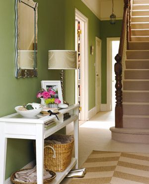 hallway. love the green walls.   for the home   pinterest   best