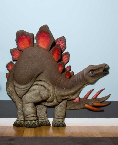 Red Fin Stegosaurus Dinosaur 3D Wall Art Decor & Red Fin Stegosaurus Dinosaur 3D Wall Art Decor | Dean bean ...