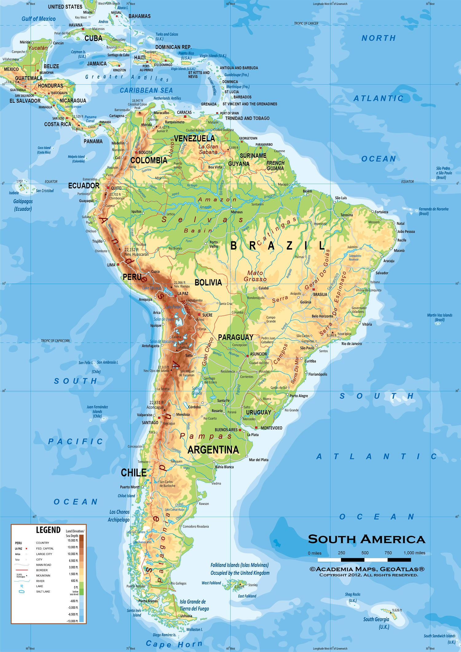 Map of Latin America South America physical and political