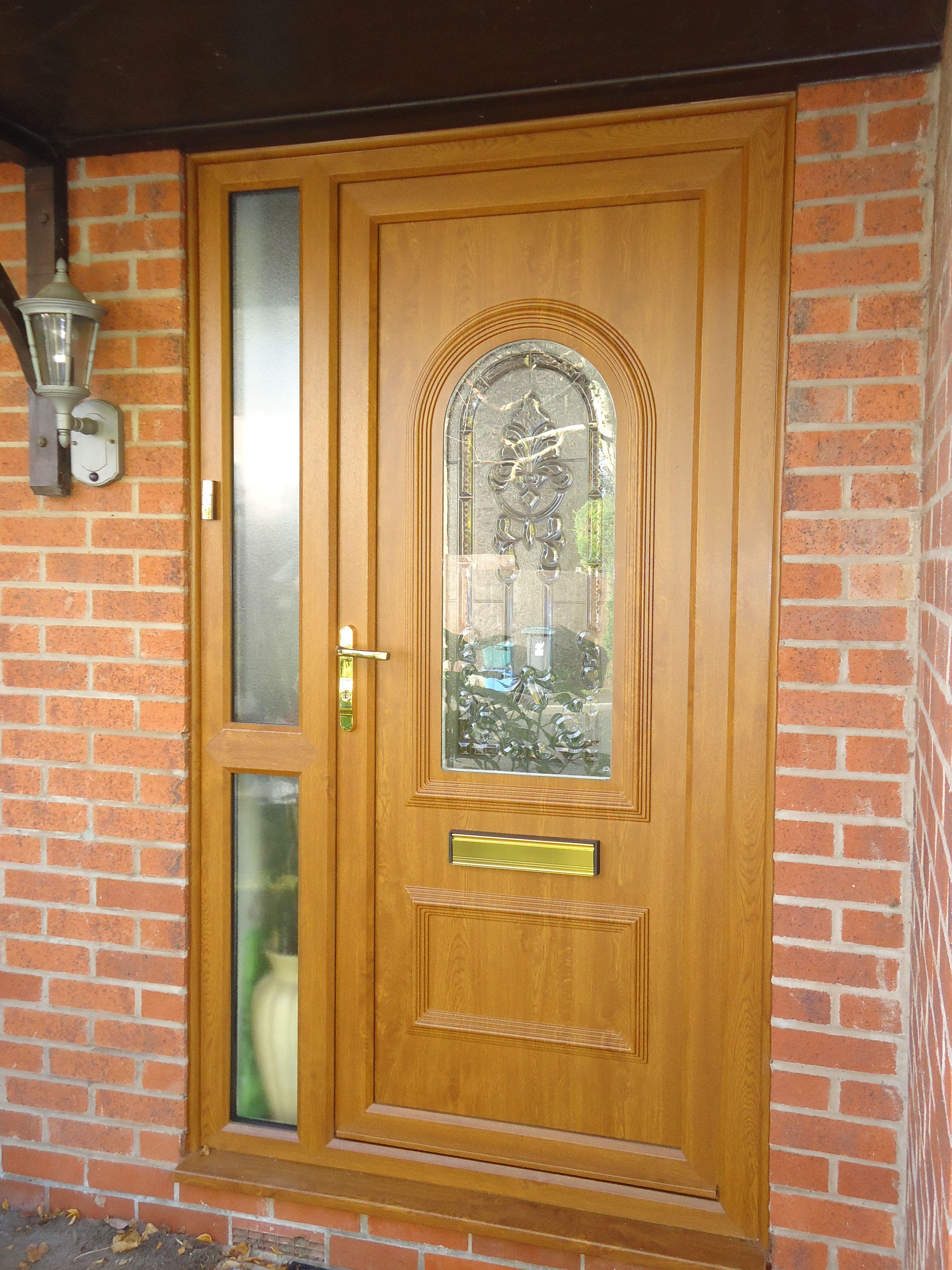 Composite door side screen in golden oak installed by for Exterior back door with window