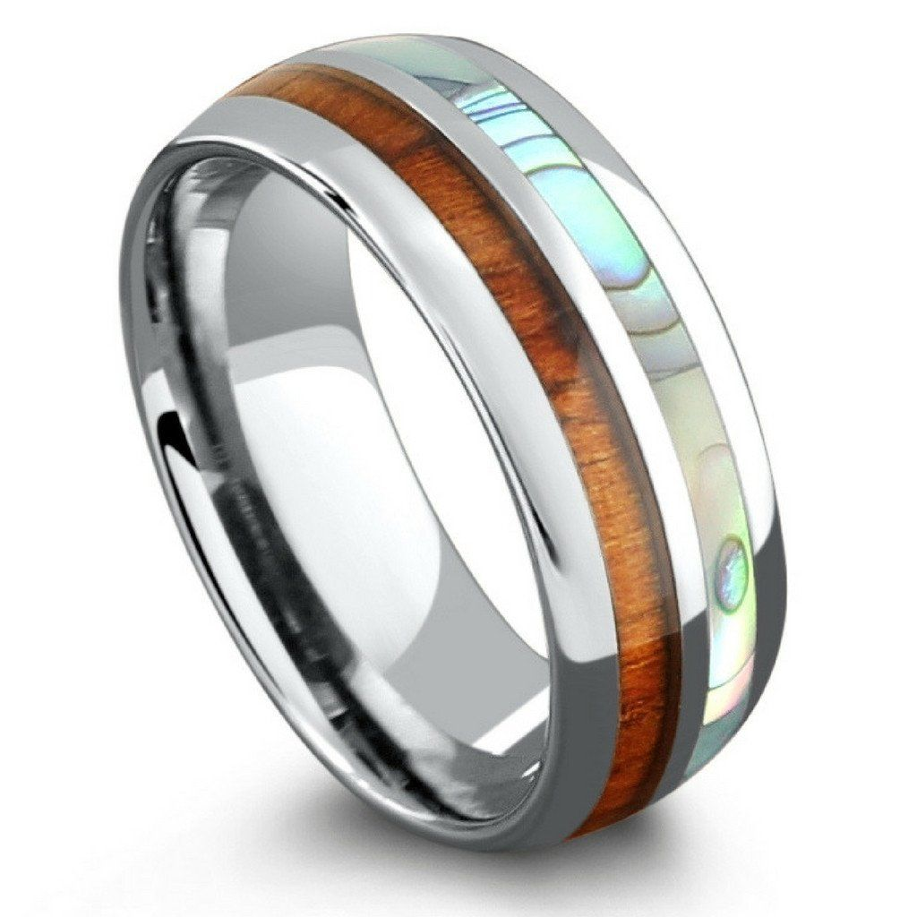 Koa Wood And Abalone Wedding Ring Made Out Of Tungsten Carbide Makes Perfect Engagement Or 8mm In Width Designed With A Oval Design: Carbide Abalone Wedding Rings At Websimilar.org