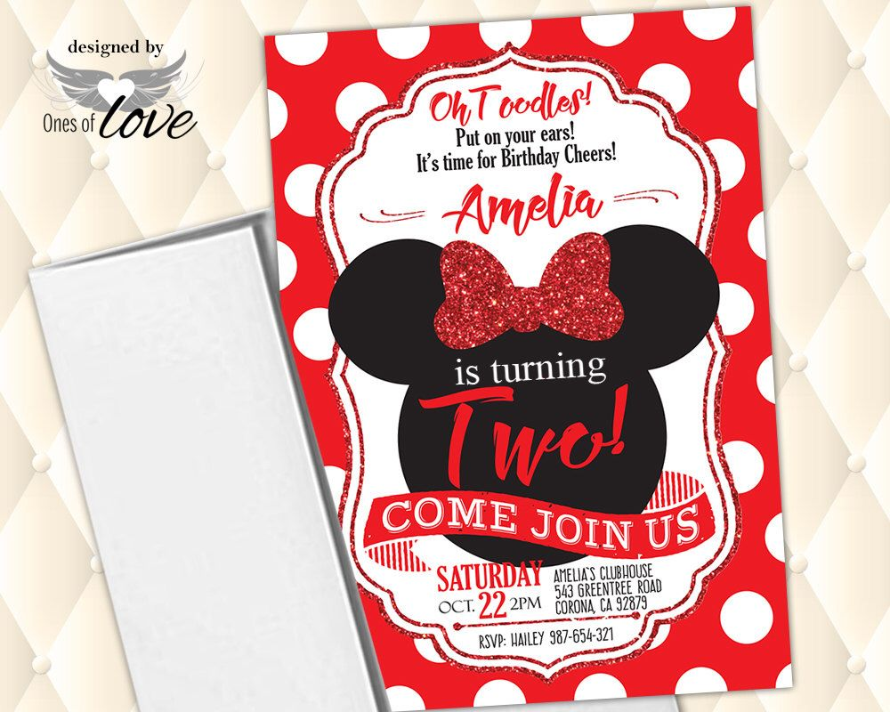 Minnie Mouse Invitation Red Birthday First