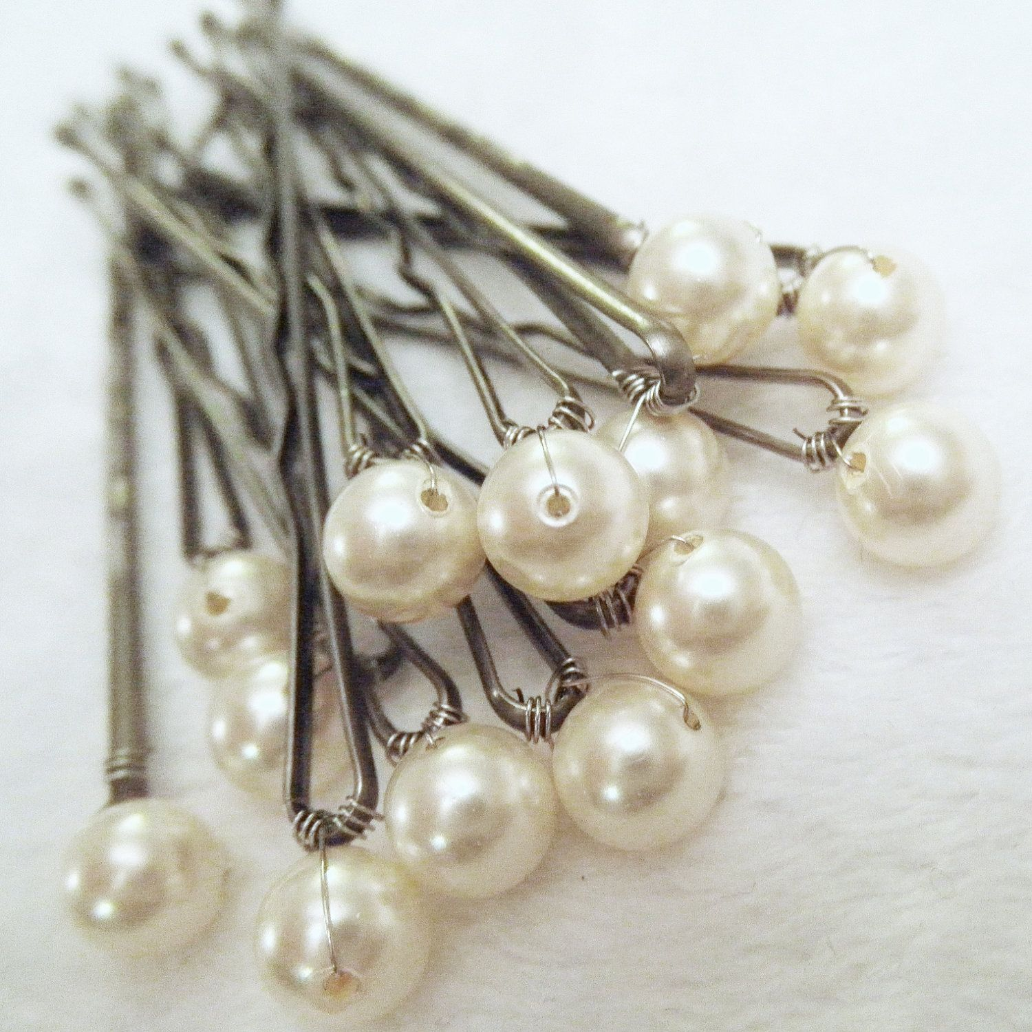 pearl hair pins - ivory set of 12 bridal bobby pins (also in: cream