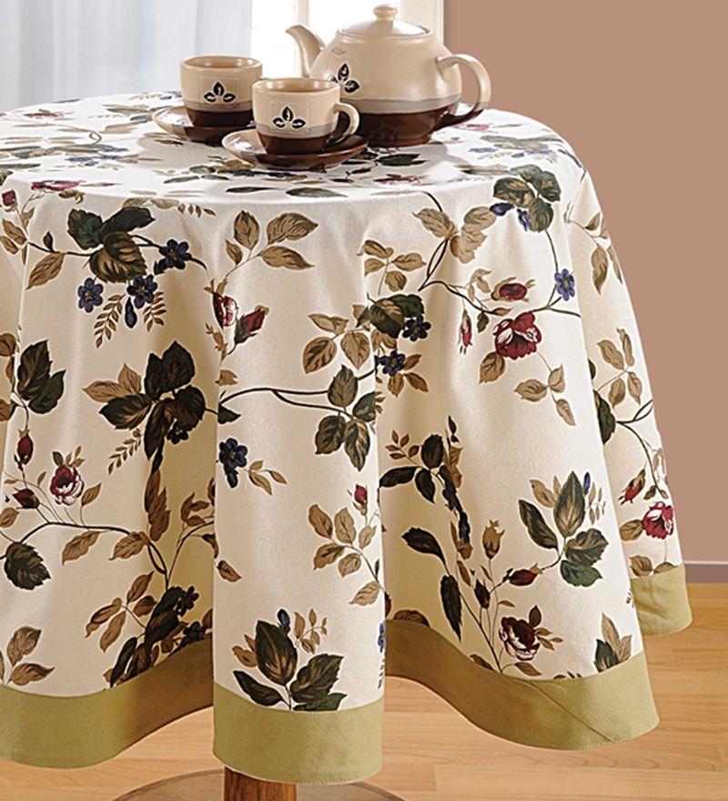 Swayam Khaki Cotton Leaf Printed Table Cover Toalha De Mesa Redonda Toalha De Mesa Azul Toalhas De Cozinha