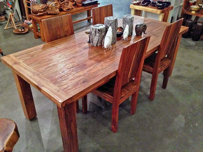 A Very Solid 7 Foot Long X 3 Foot Wide Reclaimed Teak Dining Table With Four 4 Legs Made From Salvaged Old Growth Teak Woo Teak Dining Table Dining Table Teak Furniture