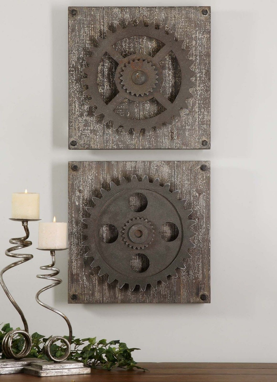 urban industrial loft steampunk decor rusty gears cogs 3d wall art