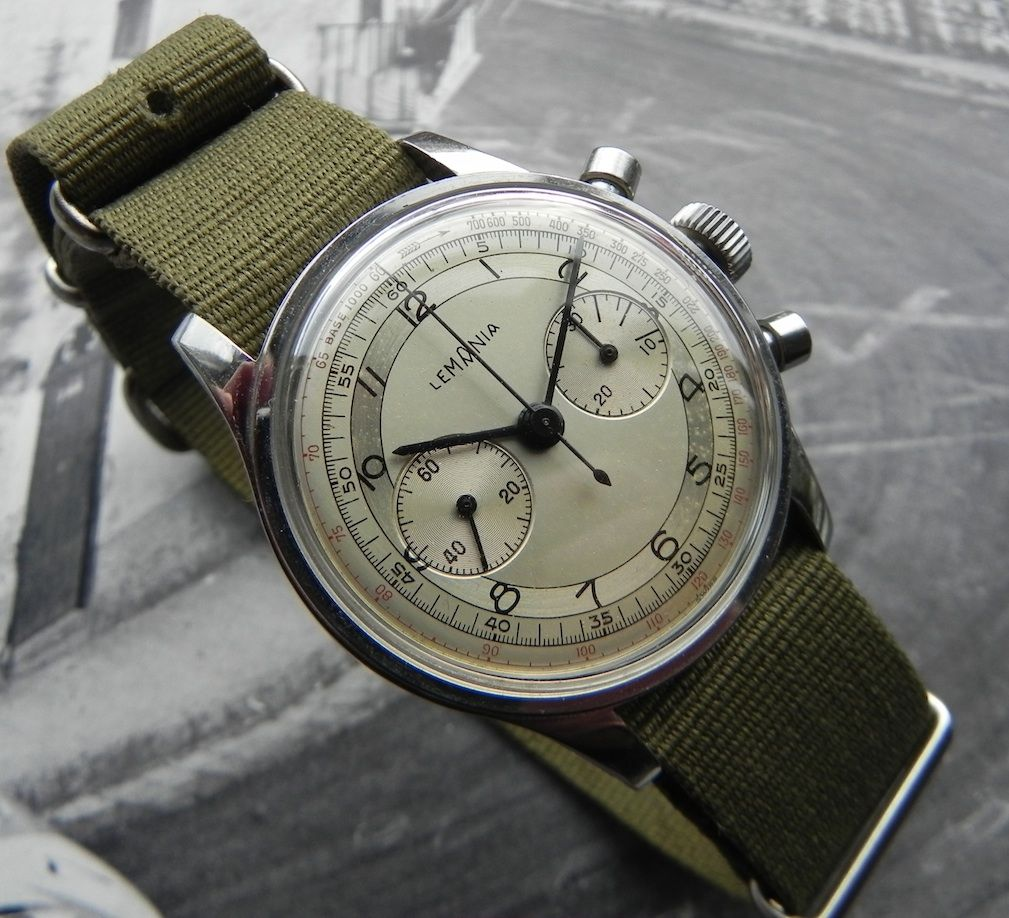 Stunning Lemania Chronograph In Stainless Steel Circa ...