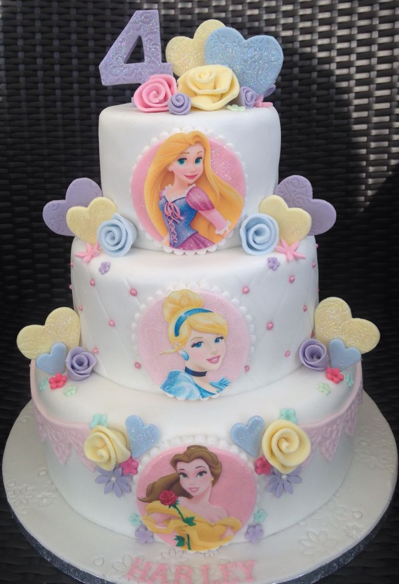 Three tier Disney Princess Cake 3 Sisters Princess Party