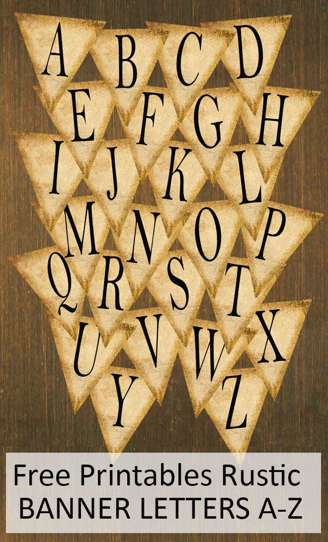 Free Printables Rustic Banner Letters AZ  Banner Letters Rustic